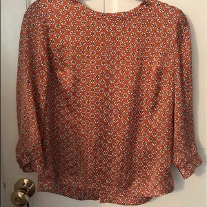 Silky Orange Blouse with Buttons down the back